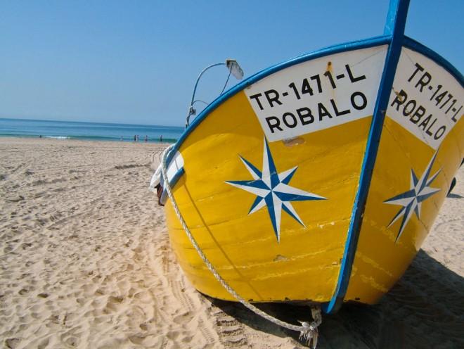 Portugal, Caparica, near Lisbon, fishing boat on beach