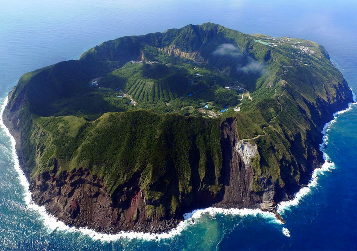 Very unique shape formed by multiple volcanic activities in the past. Aogashima island Source: Charly W. Karl